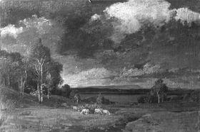 Vorgebirgslandschaft mit Schafen