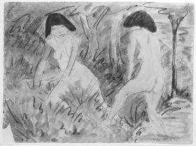 Badende Mädchen unter Bäumen