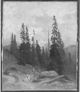 Berglandschaft mit Wettertannen
