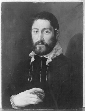Bildnis eines Herrn in schwarzem Gewand mit weißen Kragen