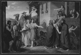Abschied des jungen Tobias und seiner Braut von den Schwiegereltern