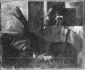 Jason schläfert den Drachen mit dem Gift der Medea ein