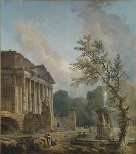 Landschaft mit römischer Tempelruine