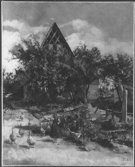 """Mittelfränkische Dorfszene (""""Gänseliesl"""")"""