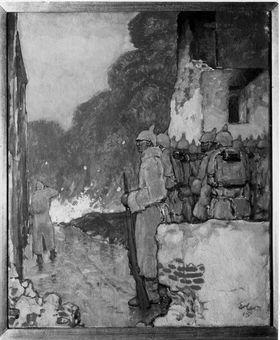 Mannschaft in einer Straße (In Reservestellung vor Ypern)
