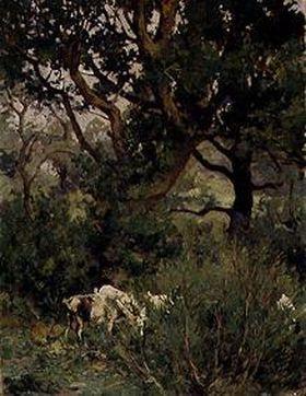 Ziegen unter Bäumen
