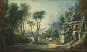 Hirtenlandschaft mit Fluss