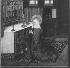 Klarenaltar: Bittgebet der hl. Klara (Erscheinung des Christusknaben)