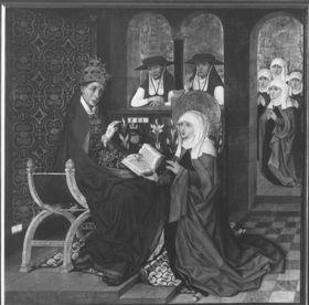 Klarenaltar: Übergabe der Ordensregel durch Papst Innocenz IV.