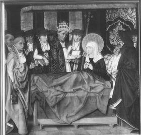 Klarenaltar: Die hl. Klara auf dem Sterbebett
