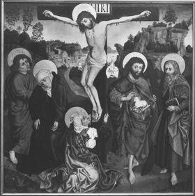 Christus am Kreuz mit Magdalena, Maria, Johannes, Johannes der Täufer und hl. Andreas