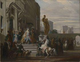 Aeneas und Dido brechen zur Jagd auf