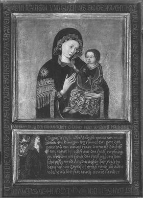 Triptychon mit einem Marienbild im Typus der Madonna del Popolo, einem Stifter, den hll. Katharina und Barbara auf den Flügeln (Flügelaußenseite: Ver