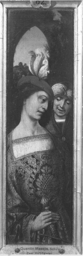 Flügel eines Triptychons: Zwei junge Männer mit Federbarett