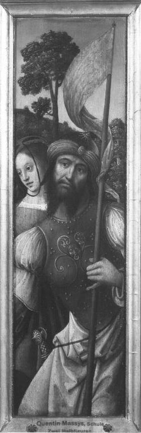 Flügel eines Triptychons: Ritter mit seinen Knappen