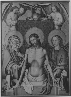 Christus als Schmerzensmann zwischen Maria und Johannes, mit dem Stifter Hans von Haunstetten und seiner Frau