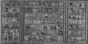 Triptychon mit Franziskuslegende (126 Szenen) Flügelaußenseiten: Hll. Franziskus und Klara