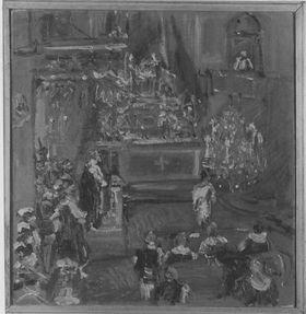 Kirchenszene mit dem Prediger auf der Kanzel