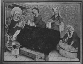 Tafel vom Hochaltar aus St. Mang in Füssen: Geburt Mariens Rückseite: Gefangennahme Christi