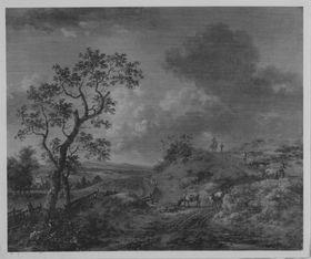 Landschaft mit Hirten und Tieren