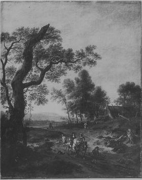 Landschaft mit Jagdgesellschaft