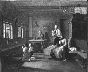 Bauernfamilie in der Stube bei einem Gewitter
