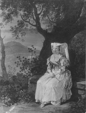 Junge Frau in südlicher Landschaft