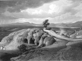 Campagnalandschaft mit Felsenhöhle und Brücke