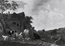 Ochsen und Ziegen vor einem Gasthof