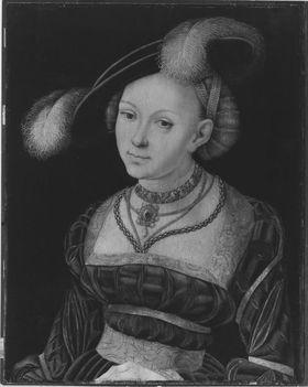 Weibliche Halbfigur mit Federhut