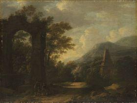 Bergige Landschaft mit Aquädukt, Pyramide und Personenstaffage