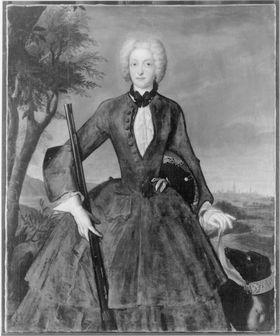 Bildnis der Amalie Maria Josepha von Bayern, Gemahlin Kaiser Karls VII., im Jagdkostüm (1701-1756)