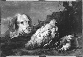 Jagdstillleben mit Hund