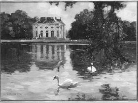 Nymphenburg mit zwei Schwänen