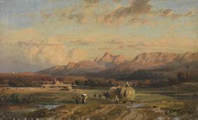 Erntelandschaft mit dem Wendelstein in der Abendsonne