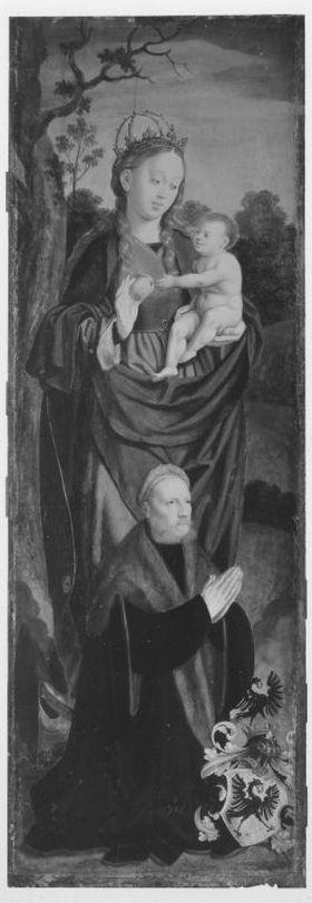 Rinck-Altar: Muttergottes auf der Mondsichel mit dem Stifter Hermann Rinck