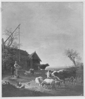 Stallaustrieb mit Bäuerin am Brunnen