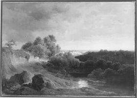 Die Amper bei Freising mit abziehendem Gewitter (Flusslandschaft im Voralpenraum bei abziehendem Gewitter)