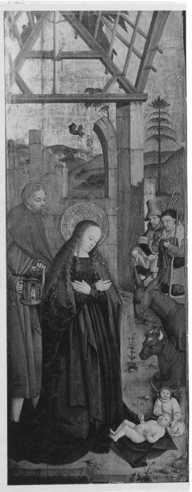 Flügel eines Altares: Geburt Christi Rückseite: Hll. Katharina und Barbara