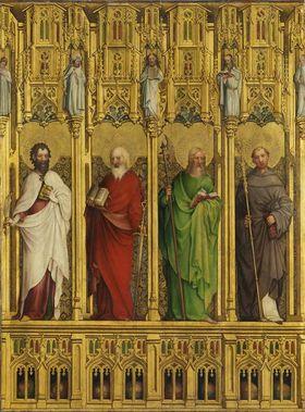 Heisterbacher Altar: Die Apostel Bartholomäus, Simon, Matthias und der hl. Bernhard