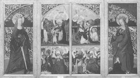 Kirchheimer Sippenaltar, Flügel: Esmeria mit Elisabeth und Eliud; Zacharias mit Elisabeth und Johannes d. T.; Stollanus mit Emerentia und Anna, Memeli