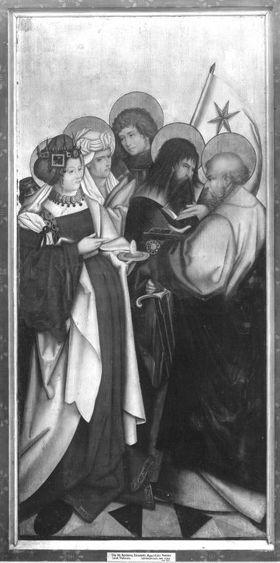 Altarflügel aus Seifriedsberg: Hll. Barbara, Elisabeth, Mauritius, Paulus, Petrus Rückseite: Hll. Dorothea, Sebastian, Nikolaus, Agnes, Philippus