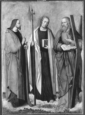 Apostelaltar: Die hll. Jakobus d. J., Matthias, Andreas Rückseite: Verkündigung an Maria
