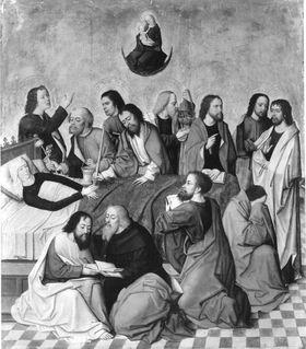Tafeln eines Flügelaltares: Tod Mariens Rückseite: Predigt Johannes d. T.