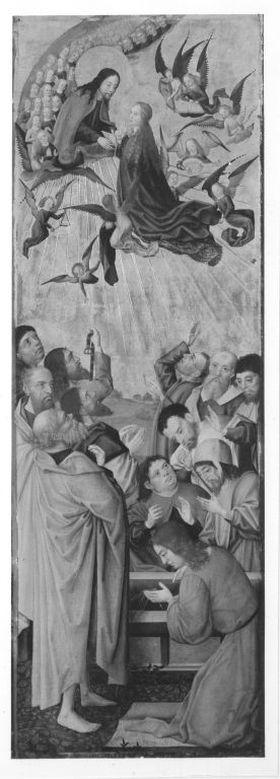 Sieben-Freuden-Altar: Himmelfahrt Mariens Rückseite: Verspottung Christi, Beweinung Christi (Fragment)