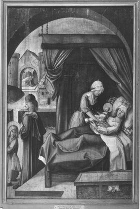 Tafel vom Sebaldus-Altares der Heiligkreuzkirche in Schwäbisch-Gmünd: Geburt des hl. Sebaldus