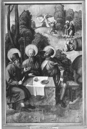 Tafel vom Sebaldus-Altares der Heiligkreuzkirche in Schwäbisch-Gmünd: Der hl. Sebaldus speist die hll. Willibald und Wunibald