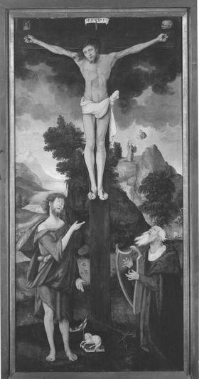 Kreuzigung Christi mit Johannes dem Täufer und König David (Allegorie von Gesetz und Gnade)