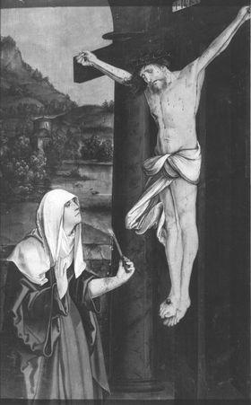Maihinger Altar: Hl. Birgitta von Schweden vor dem Kruzifixus Rückseite: Stammbaum der Ordensstifter nach der Regel des hl. Augustinus