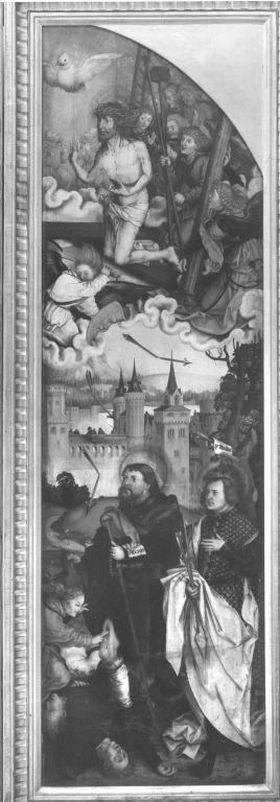 Flügel eines Pestaltares: Christus mit den hll. Sebastian und Rochus als Fürbitter